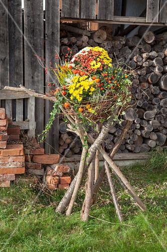 Imaginative arrangement of chrysanthemums