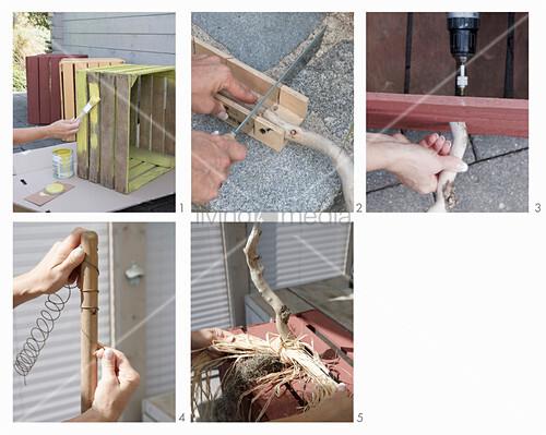 Anleitung für eine herbstliche Deko mit Holzkisten als Kürbisse