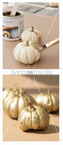 Painting ornamental squash with gold paint