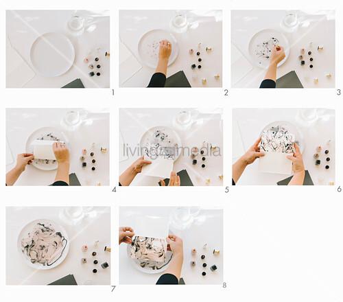 Grußkarte mit Nagellack marmorieren