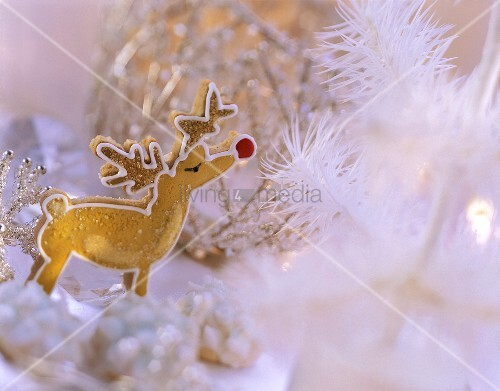 Gingerbread reindeer with winter decoration