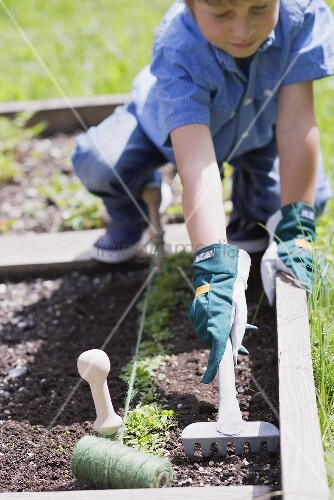 Kleiner Junge lockert Erde im Gemüsebeet