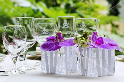 Purple orchids (table decoration)