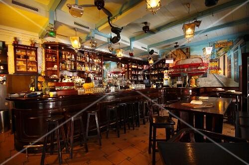 The dining room in Cuban restaurant La Bodeguita Del Medio in Prague, Czech Republic