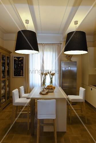 Miraculous Dining Room With Black Lampshades Buy Image 00705625 Inzonedesignstudio Interior Chair Design Inzonedesignstudiocom