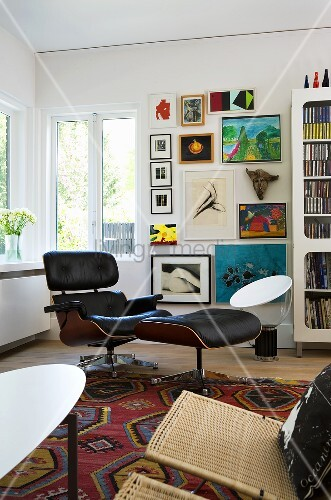 Bauhaus chair with foot stool in the corner of a living room