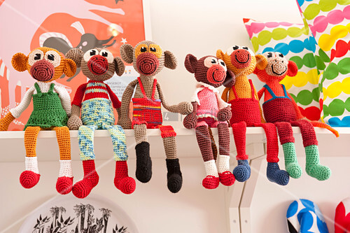 Colourful soft toys in child's bedroom